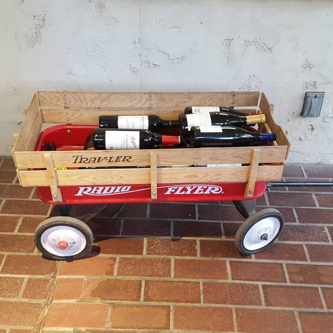 You know there's a lot of wine for cocktails tonight when it needs its own transportation. <a rel=