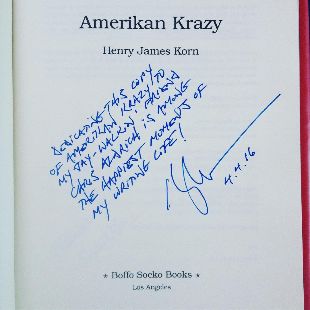 Inscription in my copy of Amerikan Krazy