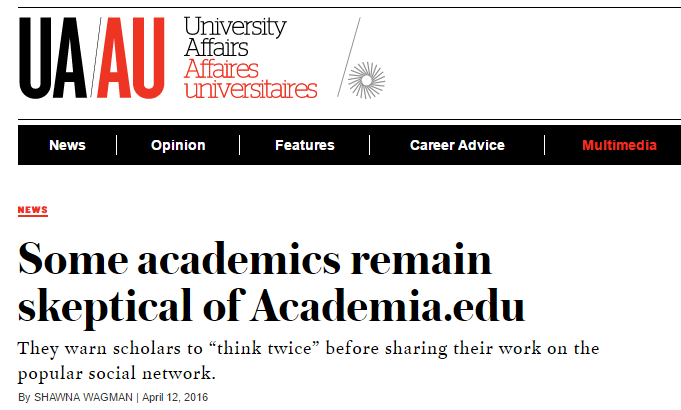"""Thoughts on """"Some academics remain skeptical of Academia.edu"""" 