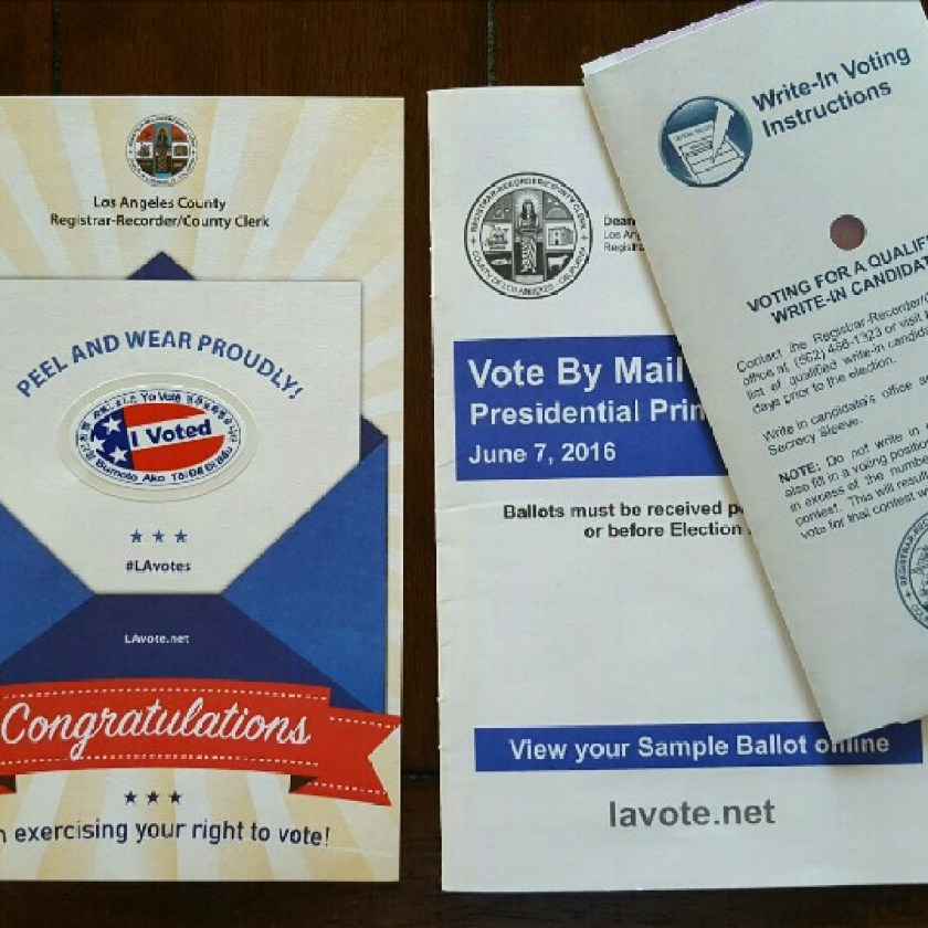 Voted http://boffosocko.com/2016/06/07/55673445/ #CaliforniaPrimary, #ChevyChaseBaptistChurch, #Church, #Election2016, #Foursquare, #Glendale, #Voting