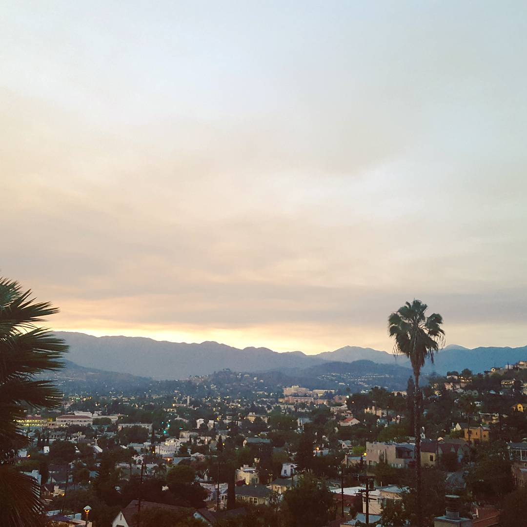 Purple and brown sunset from the smoke out of the Calabassas fire today