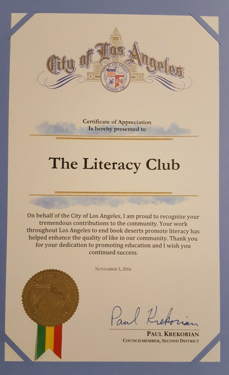 The certificate for the Literacy Club
