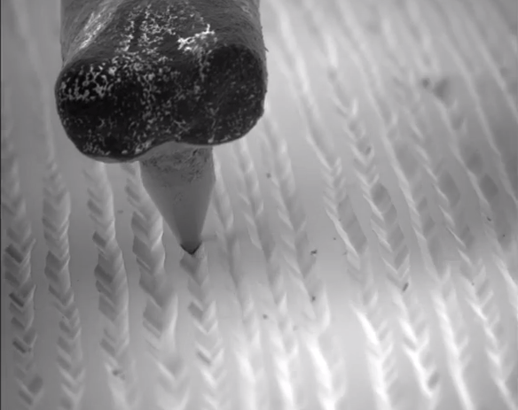 Watch a Needle Ride Through LP Record Grooves Under an Electron Microscope   Open Culture