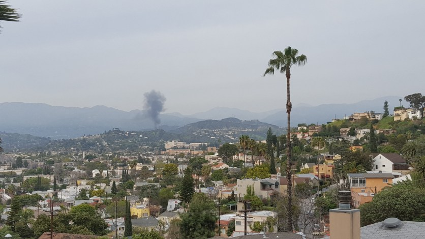 Smoke rising from the truck fire about a mile South of the 210 Freeway on the 2.