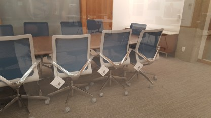 Things are so new, they havent even taken the tags off of the conference room chairs.