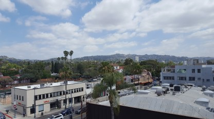 View of the mountains from downtown Beverly Hills