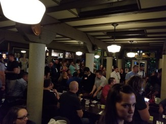 A huge crowd gathers for camaraderie and karaoke
