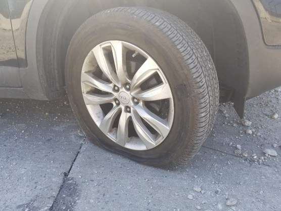 I blew out my right passenger tire while at full speed in the second lane on the northbound 210 Freeway this afternoon. Oh joy!