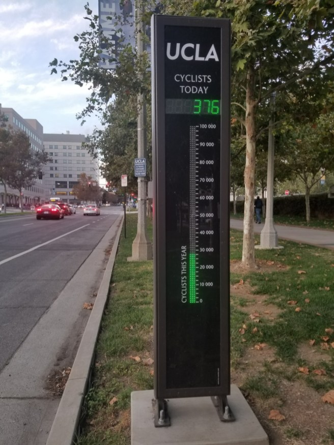 Bicycle counter at UCLA on Westwood Boulevard