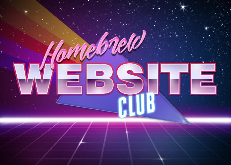 """Spacey logo with square grid at the bottom and a starfield background featuring the words """"Homebrew Website Club"""""""