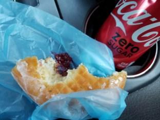 Raspberry Donut and Coca-coal zero sugar