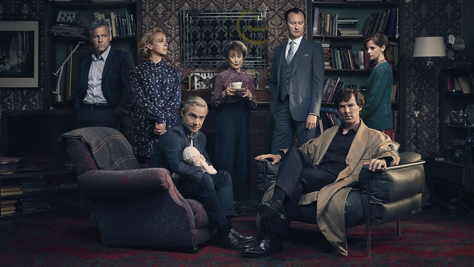 Photo of the major characters from the BBC series Sherlock