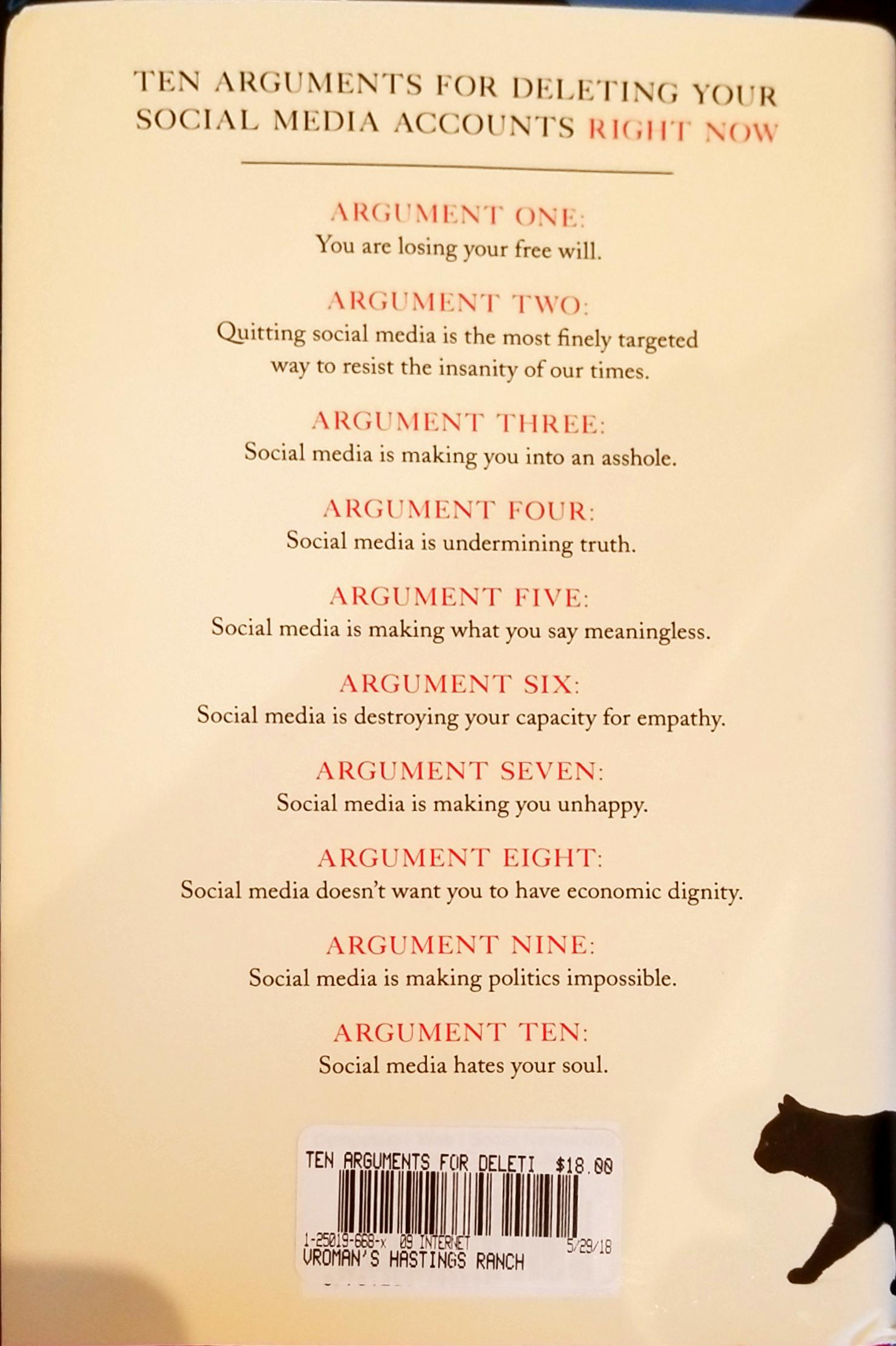 Rear cover with outline of the ten arguments