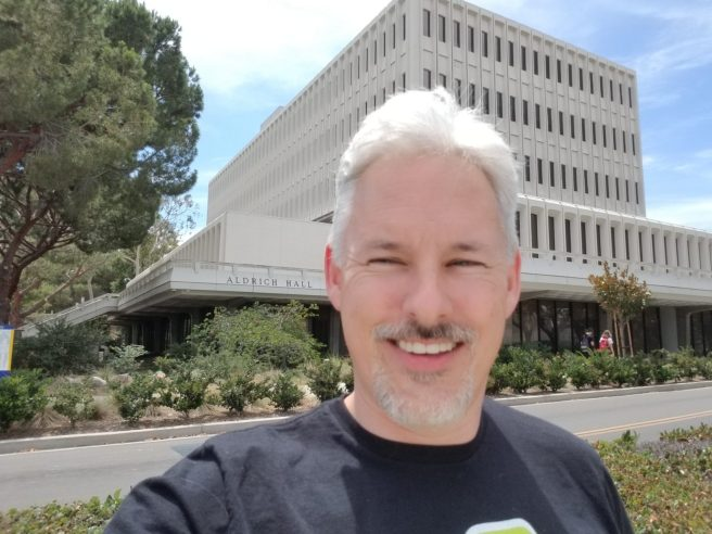 Chris Aldrich standing in front of Aldrich Hall at University of California at Irvine