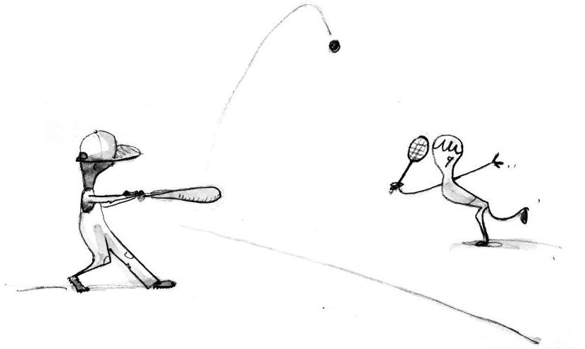 Cartoon of baseball player hitting a ball with a bat to a waiting player with a tennis raquet