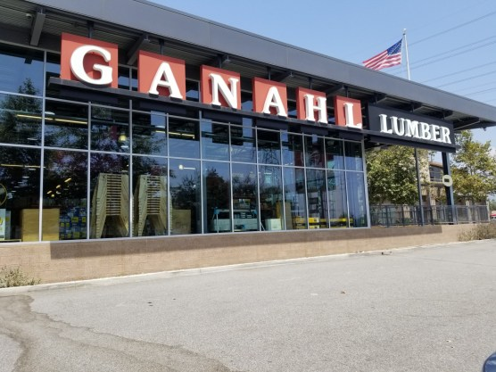Store front of Ganahl Lumber from the Colorado Boulevard entrance.