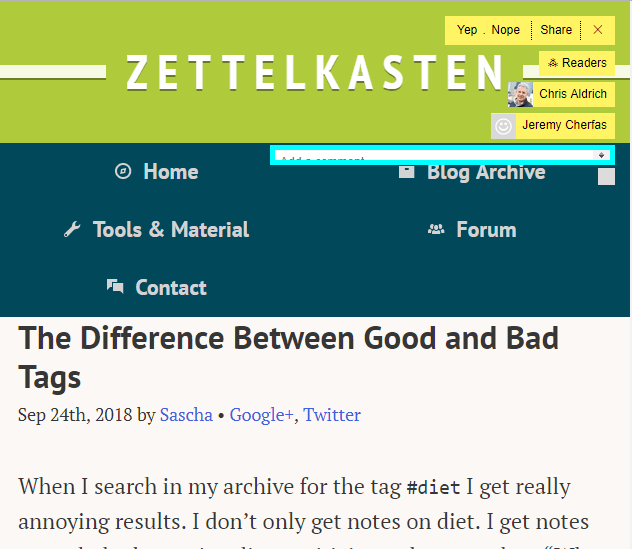 Extending a User Interface Idea for Social Reading Online