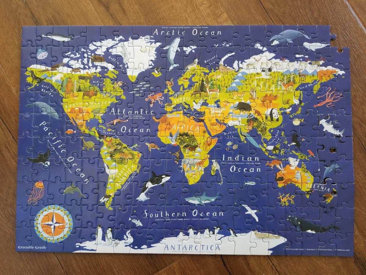 里 World Map Jigsaw Puzzle and Matching Poster – 200-pieces | Crocodile Creek