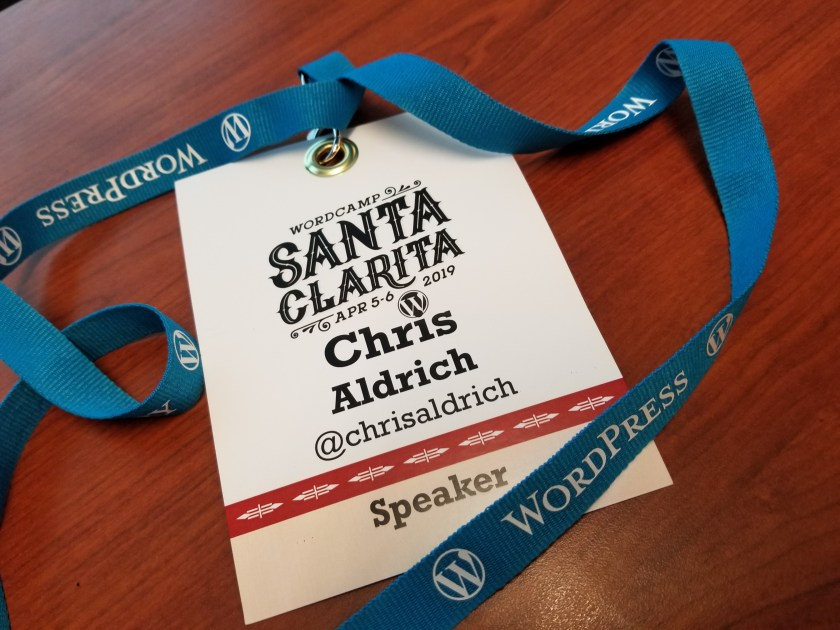 My name tag as a speaker at WordCamp Santa Clarita Valley