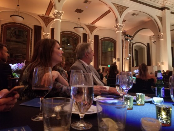 Shot from table of the people across the table from me.