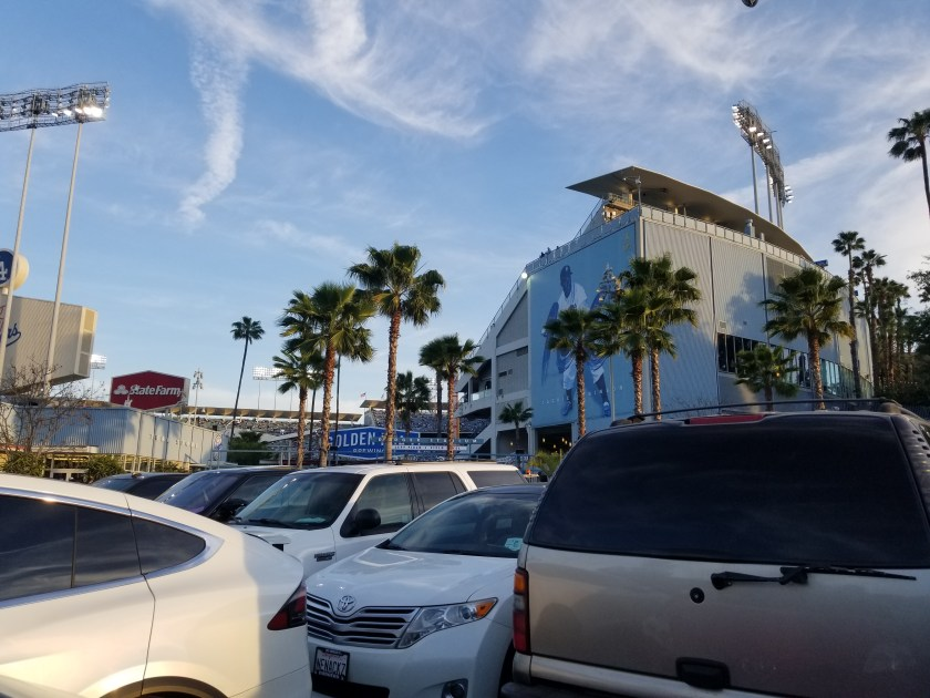 Palm trees and blue sky feature in my fabulous parking spot just yards from the stadium.