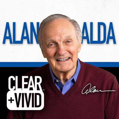 Coverart for the Clear + Vivid with Alan Alda podcast featuring a headshot of Alan Alda with the show title