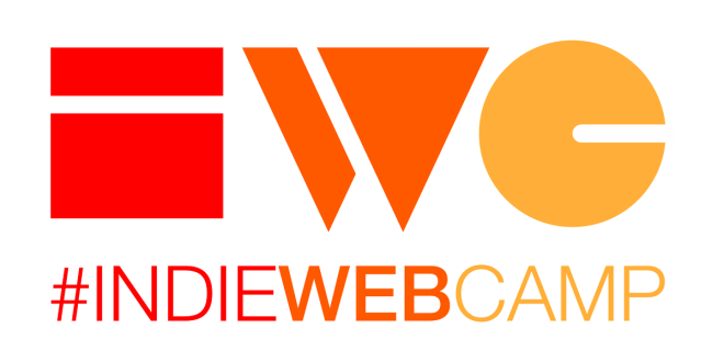 "IndieWebCamp Logo featuring the stylized letters ""I W C"" over the text ""#IndieWebCamp"""