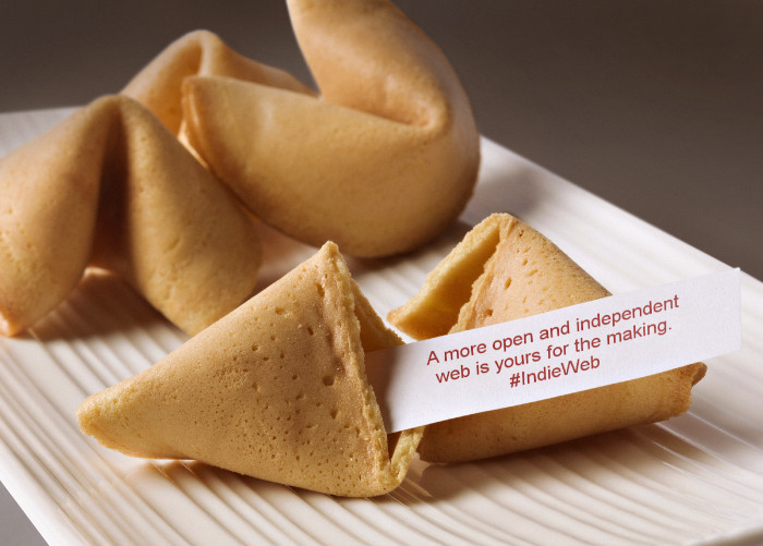 """A plate of fortune cookies with one broken open containing the fortune """"A more open and independent web is yours for the making. #IndieWeb"""""""