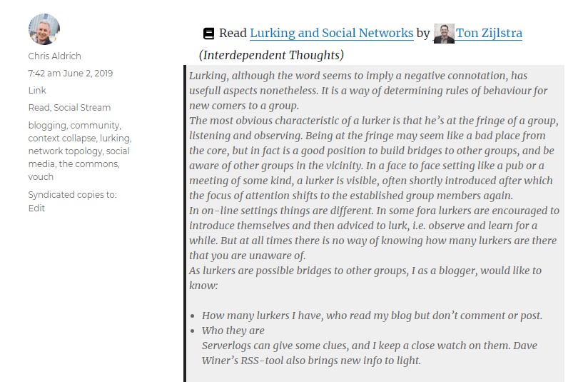 screencapture of a read post on my website