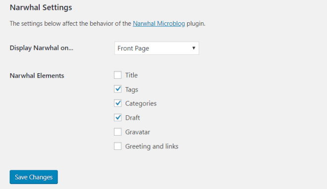 Screencapture of the settings for the Narwhal plugin