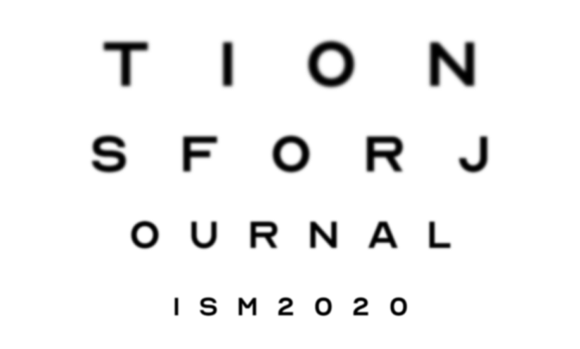Text reads Predictions for Jouralism 2020 in increasingly smaller text so as to indicate an eye chart