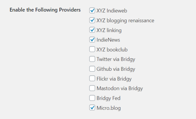 Screencapture of the Syndication Links settings UI