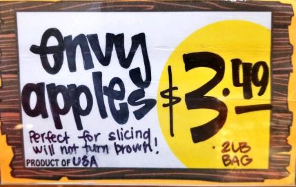 Sign advertising Envy apples