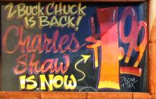Sign advertising Two Buck Chuck