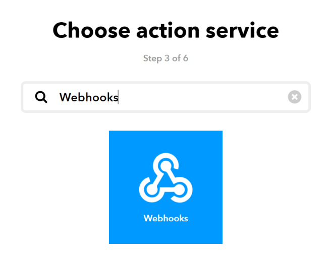 "Screenshot of the ""That"" portion with a search for Webhooks"
