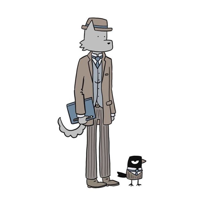 Sky Sandison cartoon drawing of a cat and bird standing up and dressed like businessmen