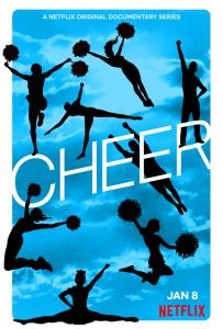 Cheer poster featuring a blue sky background and silhouettes of cheerleaders jumping in the air in various poses