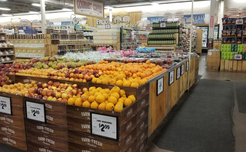 Organic fruit spread inside the grocery store
