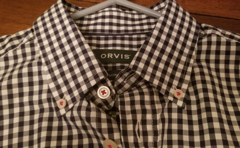 Orvis blue gingham shirt