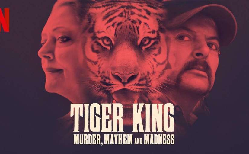 Tiger King promotional poster featuring the two warring sides separated by a tiger