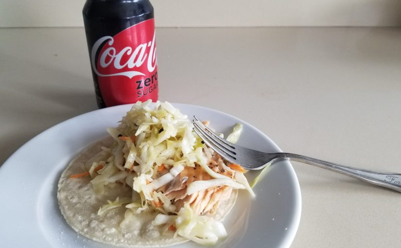 Lunch: salmon taco with slaw and Coke Zero in a can