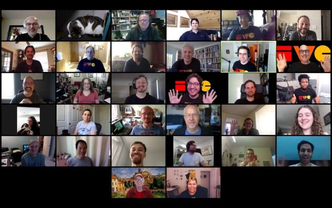 Group Photo of IndieWebCamp 2020 West attendees in a Zoom grid