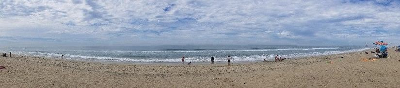 Panoramic view of the beach and surf