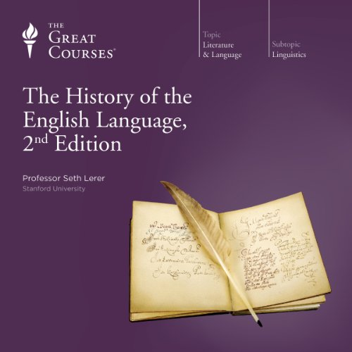 Purple coverart for The History of the English Language, 2nd Edition featuring a quill written text