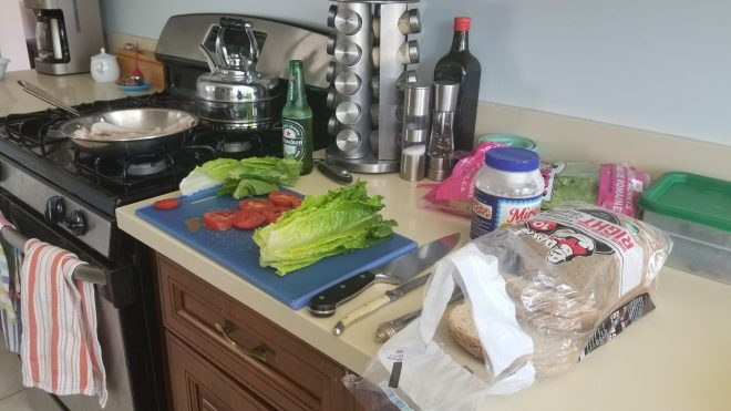 production line in my kitchen for making sandwiches