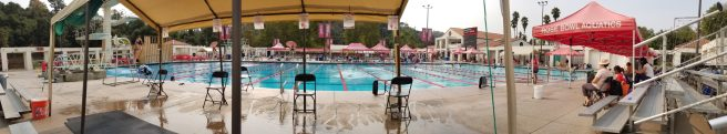 Panorama view of the lessons pool from inside the aquatic center