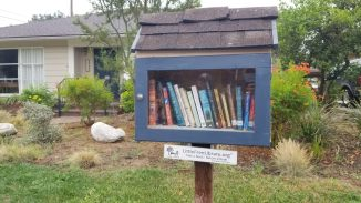 Close up of small blue library