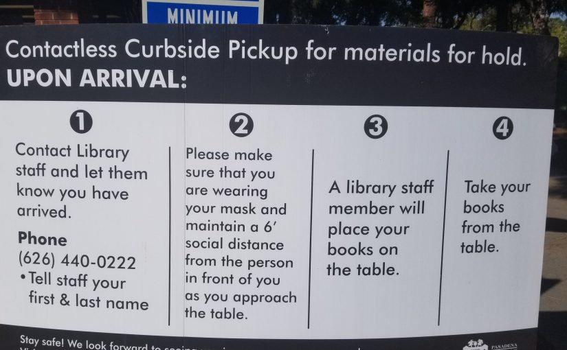 One of the big posters outside describing their curbside pick up procedure