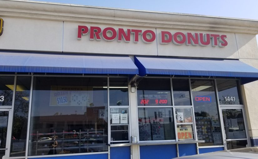 View of the walk-up window at Pronto Donuts