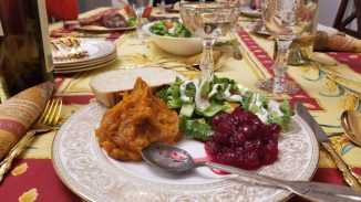 Thanksgiving plate without turkey or gravy